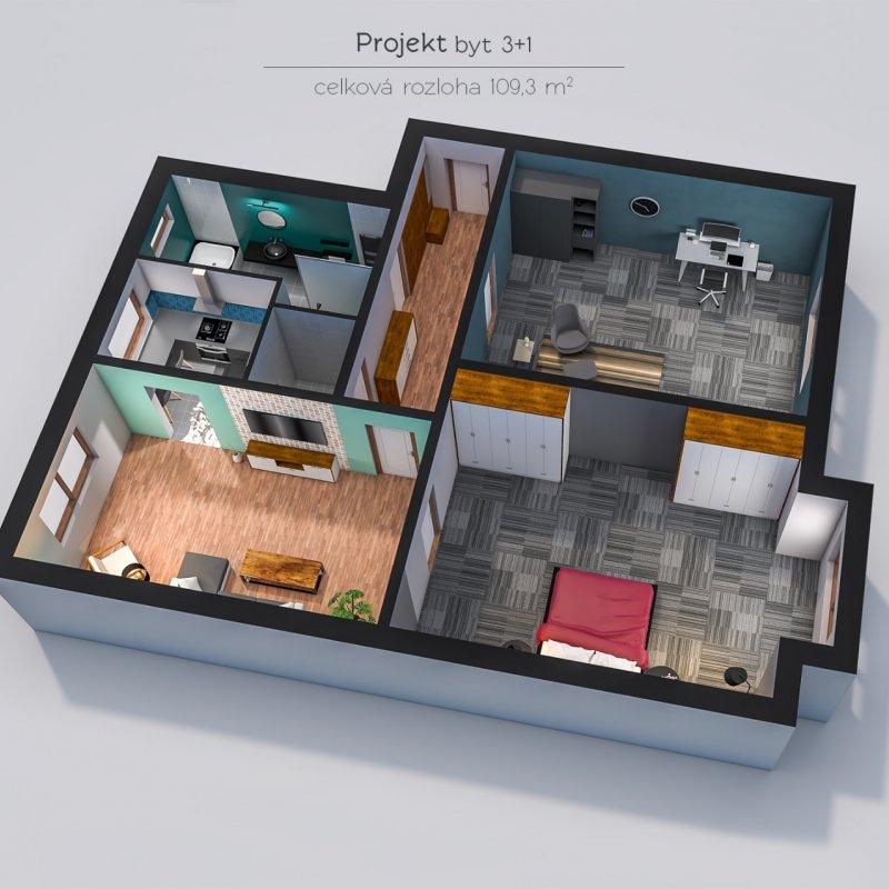 3D vizualizace půdorysu bytu 3+1
